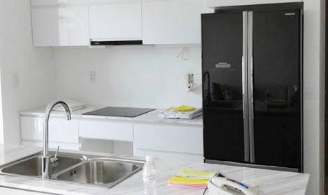 Thi công tủ bếp Acrylic căn hộ Galaxy 9 Quận 4