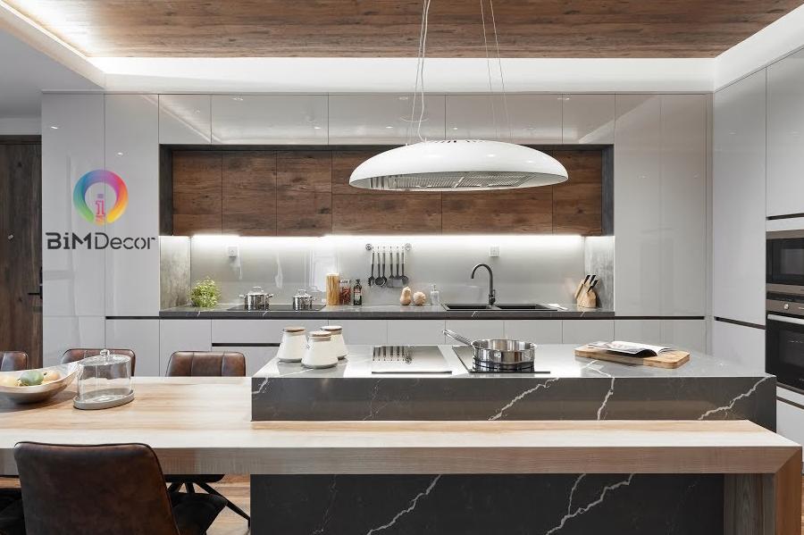 Tủ bếp laminate gia đình màu cân gỗ