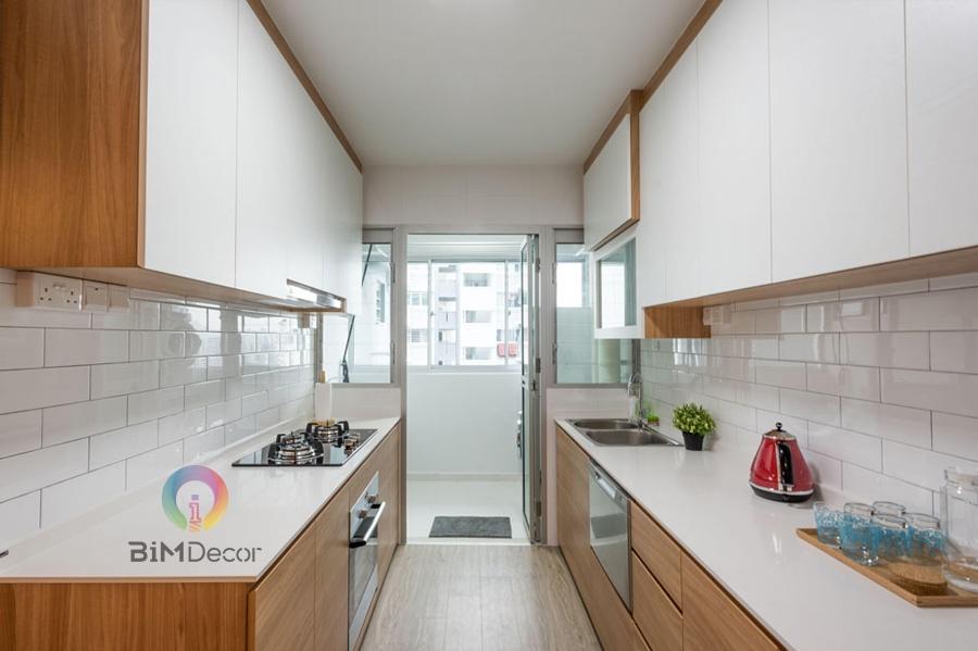 Tủ bếp Laminate chữ I kiểu hiện đại