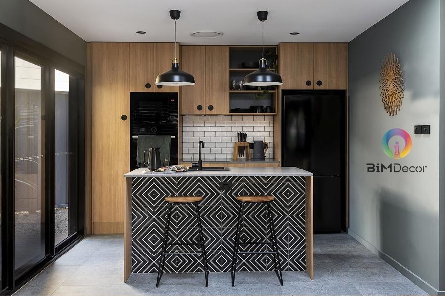 Tủ bếp Laminate chống trầy vân gỗ cánh acrylic
