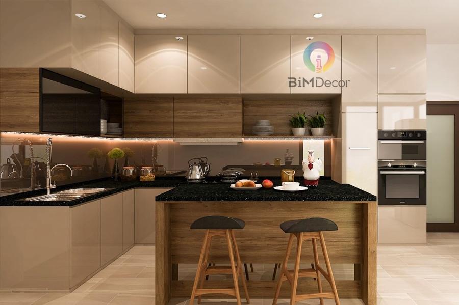 Tủ bếp gỗ An Cường Laminate hình chữ L bàn đảo Mẫu 015