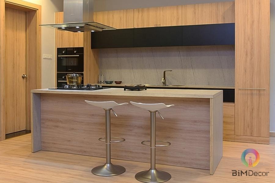 Tủ bếp gỗ Lamintate Kingdom An Cường có bàn đảo Mẫu 021