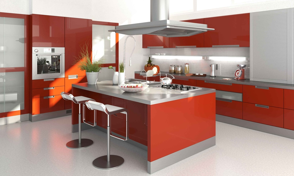Tủ bếp Acrylic màu cam sáng bóng cao cấp Mẫu 073