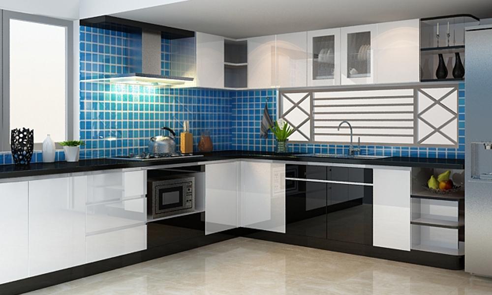 Tủ bếp Acrylic bóng gương chư L hiện đại Mẫu 075
