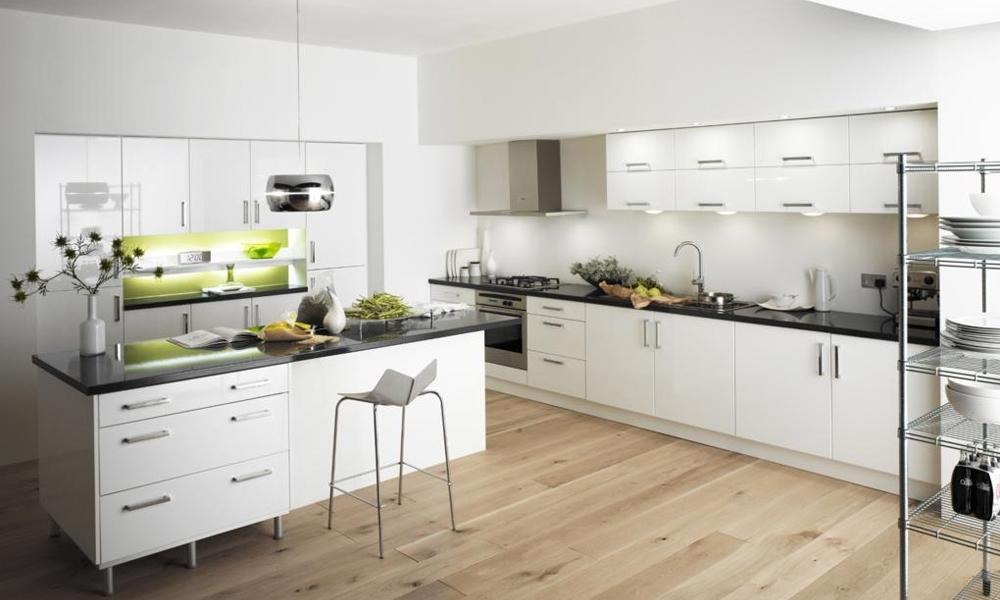 Tủ bếp Acrylic màu trắng bàn đảo Mẫu 072