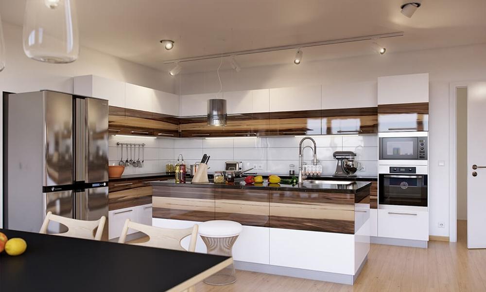 Tủ bếp gỗ Acrylic phủ bóng gương sang trọng Mẫu 069