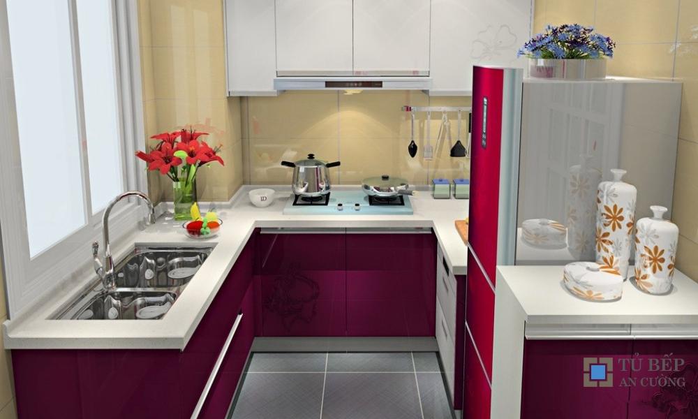 Tủ bếp Acrylic An Cường chữ U màu trắng và tím