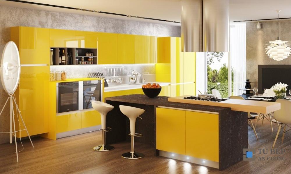 Tủ bếp Acrylic An Cường nhà biệt thự màu vàng mã màu PARC41