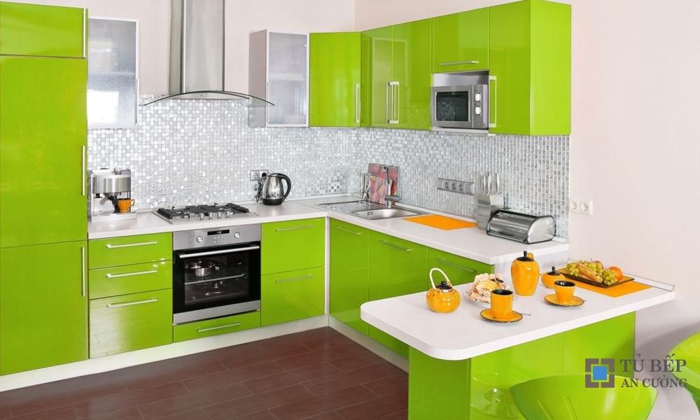 Tủ bếp Acrylic An Cường chữ I màu xanh lá cây mã màu PARC43