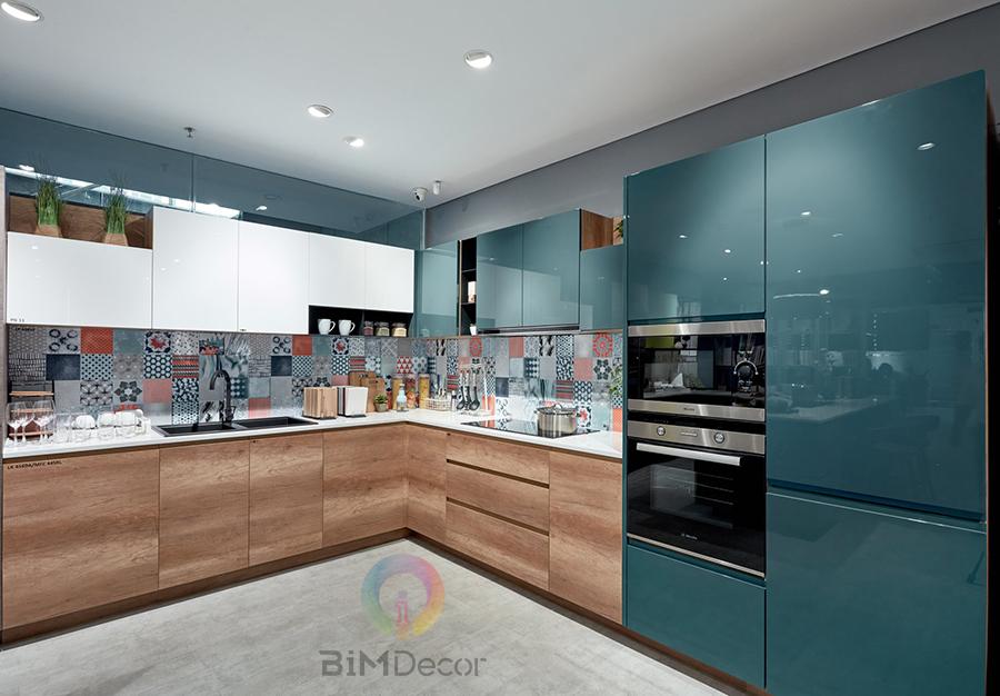 Tủ bếp Acrylic kết hợp Laminate MS091