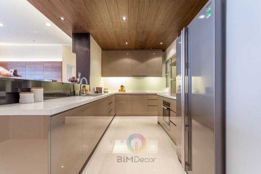 Tủ bếp Acrylic bóng gương chữ L MS093