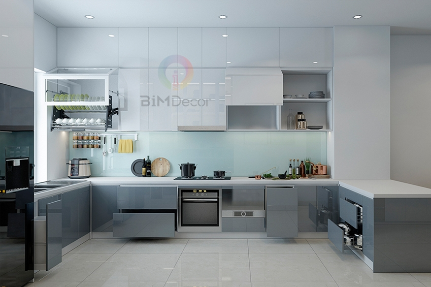 Tủ bếp Acrylic có đảo bếp MS094