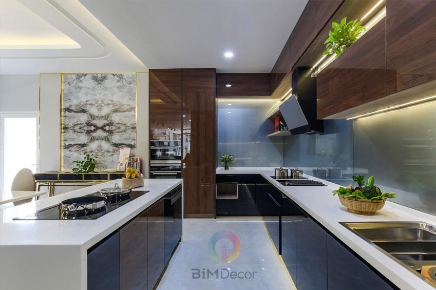 Tủ bếp Acrylic biệt thự MS096