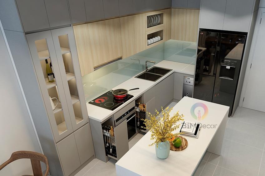 Tủ bếp Acrylic An Cường Mẫu 084