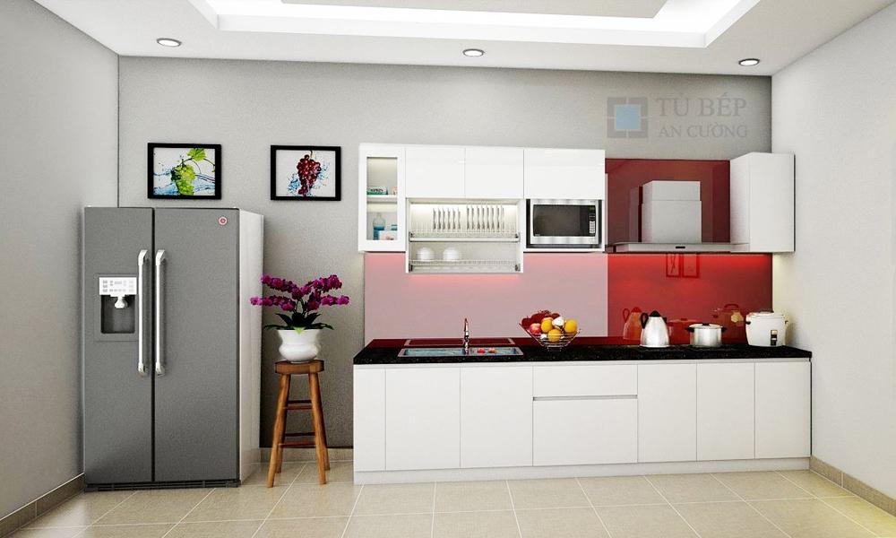 Tủ bếp chữ I chất liệu Acrylic ở Tân Bình