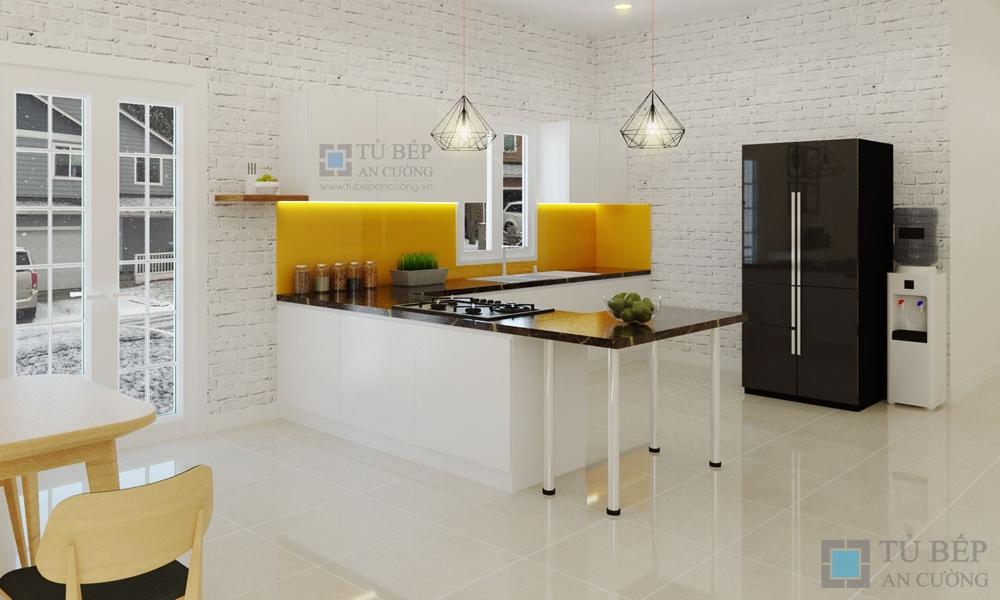Tủ bếp chữ L chất liệu Acrylic ở Củ Chi