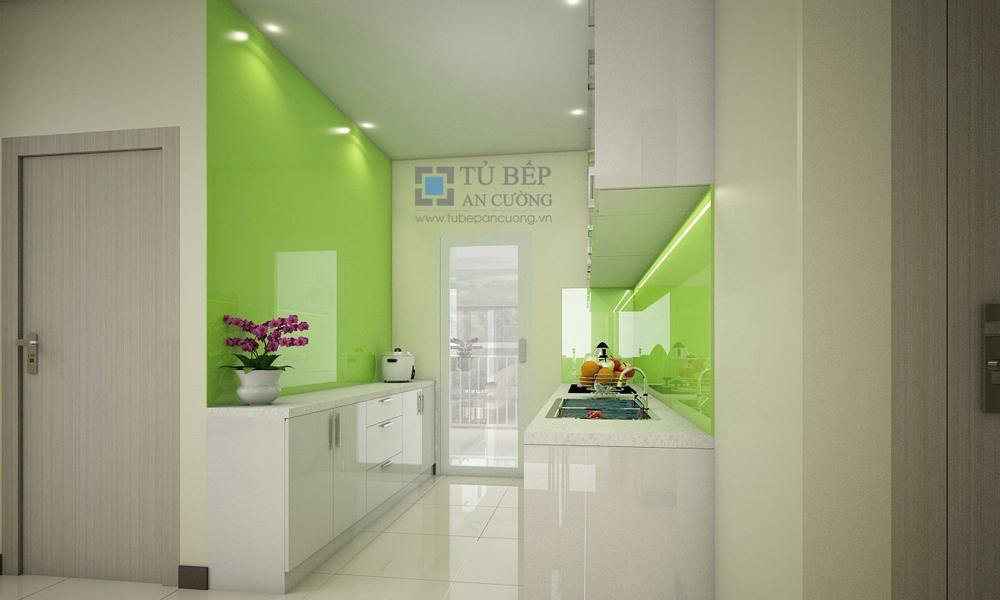Tủ bếp Acrylic Chung Cư Bộ Công An Quận 2
