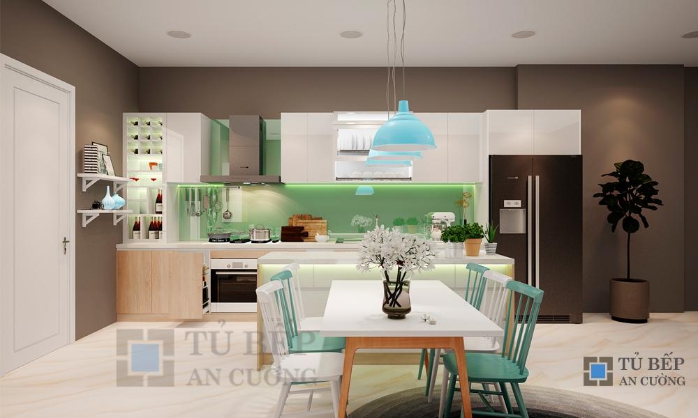 Thiết kế & thi công tủ bếp có bàn đảo nhà phố Quận 9
