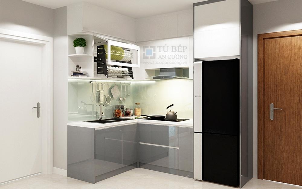 Thiết kế & thi công tủ bếp chữ L căn hộ Opal Garden Thủ Đức