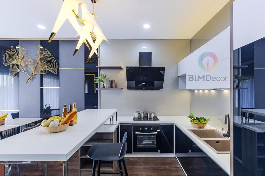 Thiết kế & Thi công tủ bếp có bàn đảo căn hộ Sala Quận 2