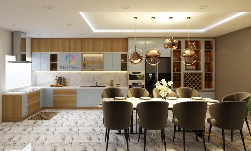 Thiết kế & thi công tủ bếp kết hợp tủ rượu biệt thự Bình Thạnh