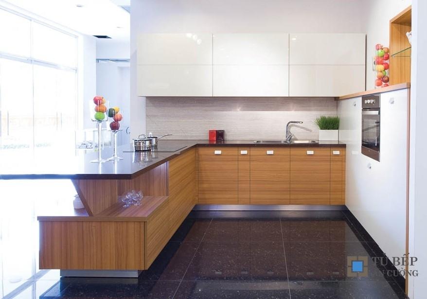 Tủ bếp gỗ An Cường cao cấp chữ U Mẫu 007