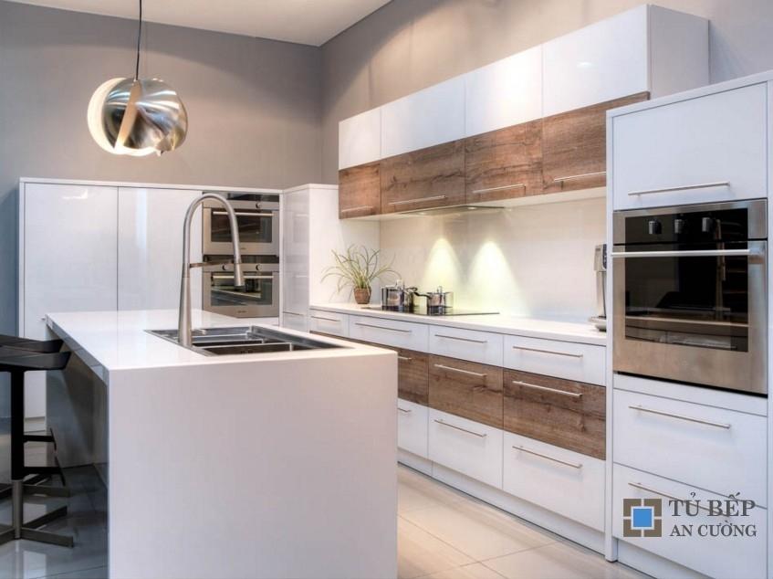 Tủ bếp gỗ An Cường chống ẩm chữ L Mẫu 005