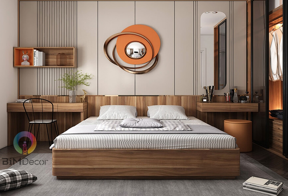 Giường ngủ gỗ công nghiệp hiện đại GN014