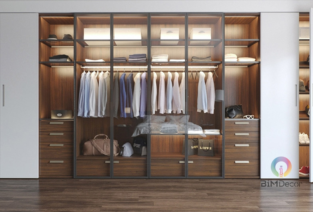 Tủ quần áo gỗ công nghiệp cánh kính GA010
