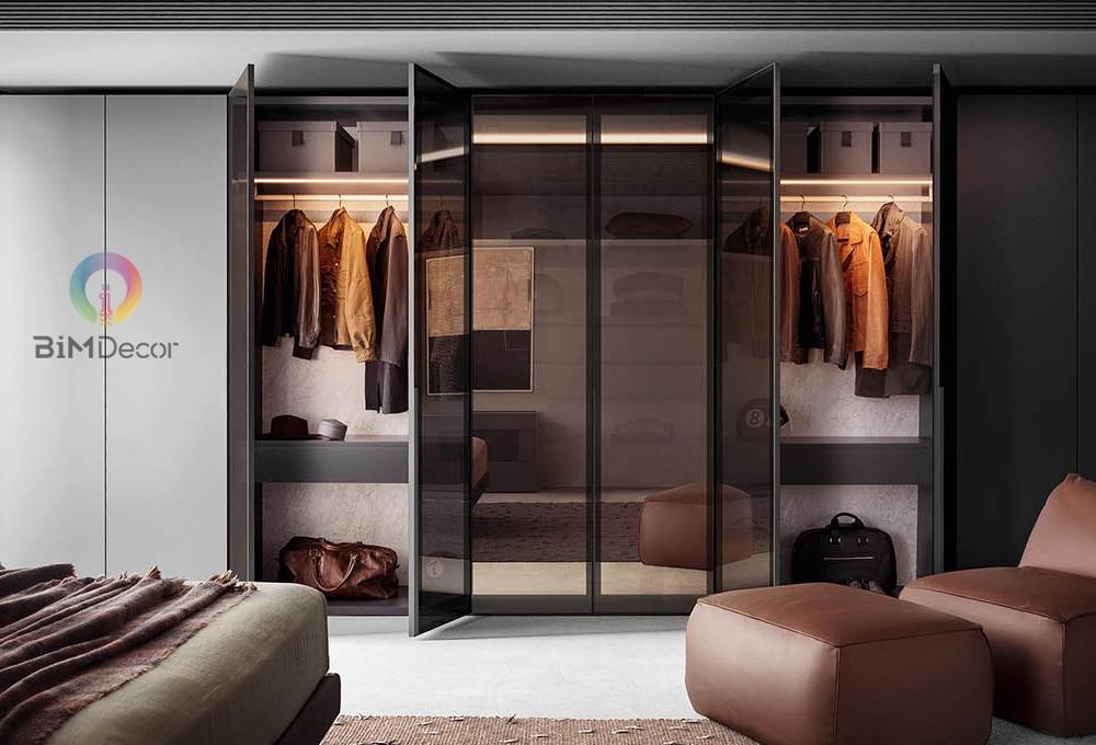 Tủ áo gỗ công nghiệp cánh kính GA014