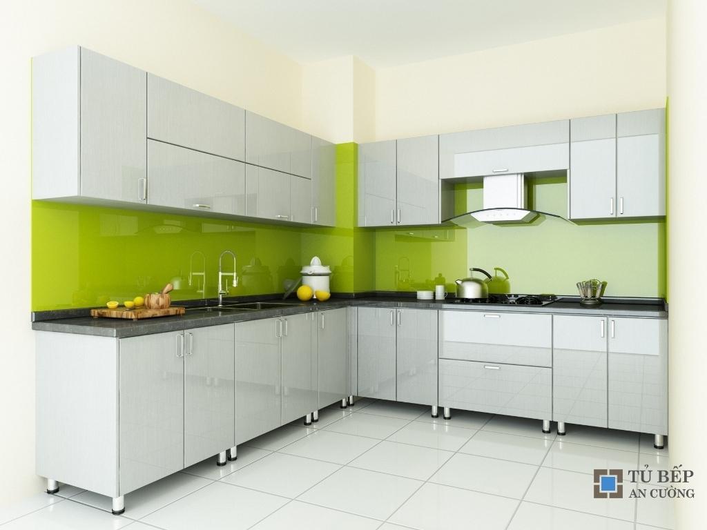 Tủ bếp cao cấp chung cư chữ L Mẫu 052