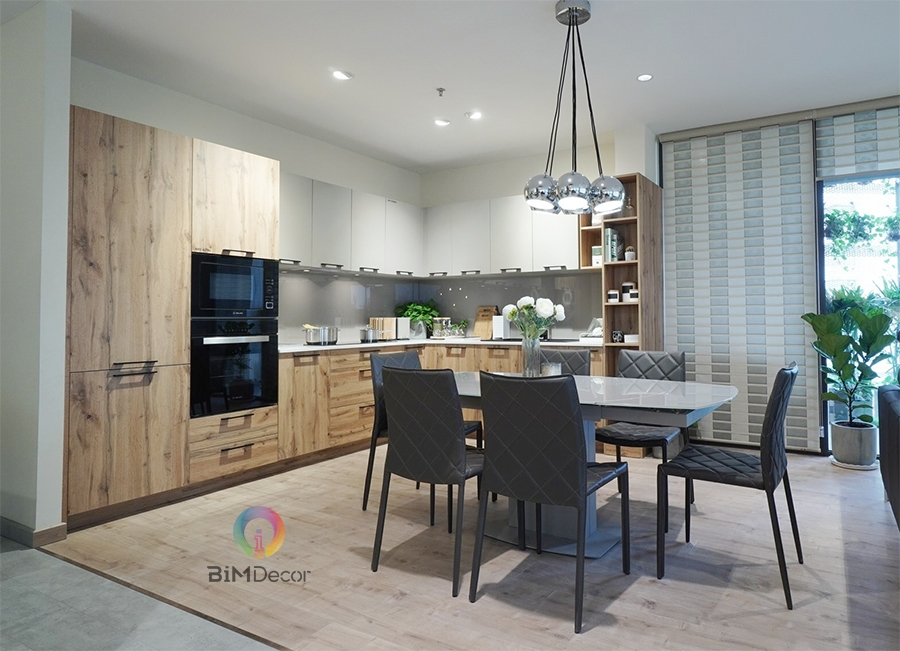 Mẫu tủ bếp đẹp Laminate MS203