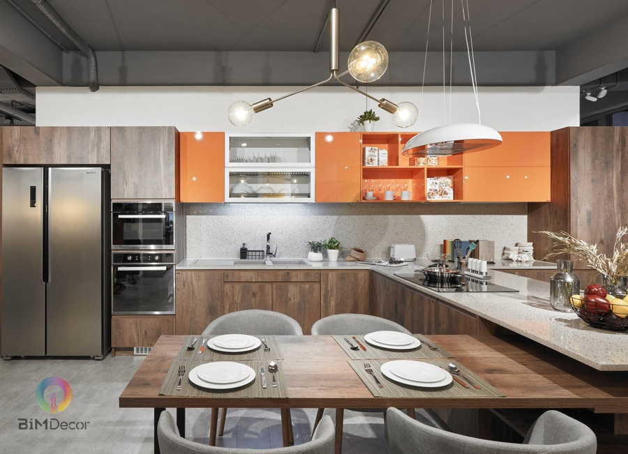 Mẫu tủ bếp đẹp Laminate & Acrylic MS205