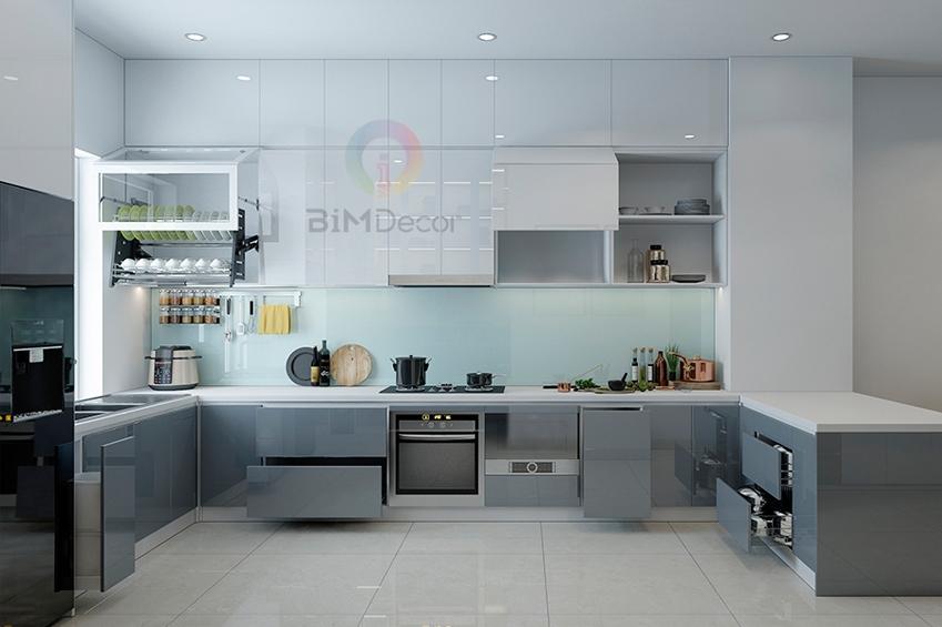 Mẫu tủ bếp đẹp Acrylic MS213