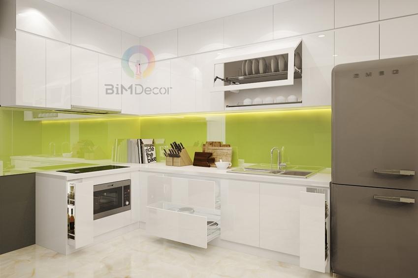 Mẫu tủ bếp đẹp Acrylic MS206