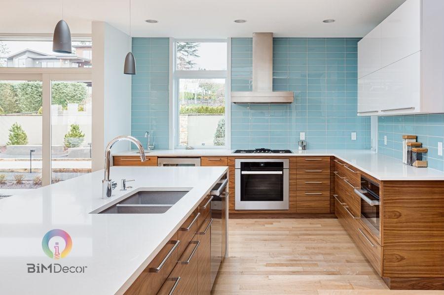 Tủ bếp MFC hiện đại màu xanh dương chữ L Mẫu 023