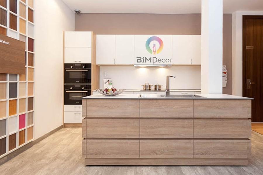 Tủ bếp MFC kiểu dáng hiện đại có bàn đảo Mẫu 031