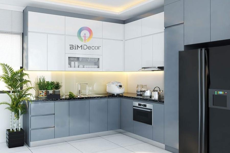 Tủ bếp cao cấp chữ L dành cho nhà phố Mẫu 049