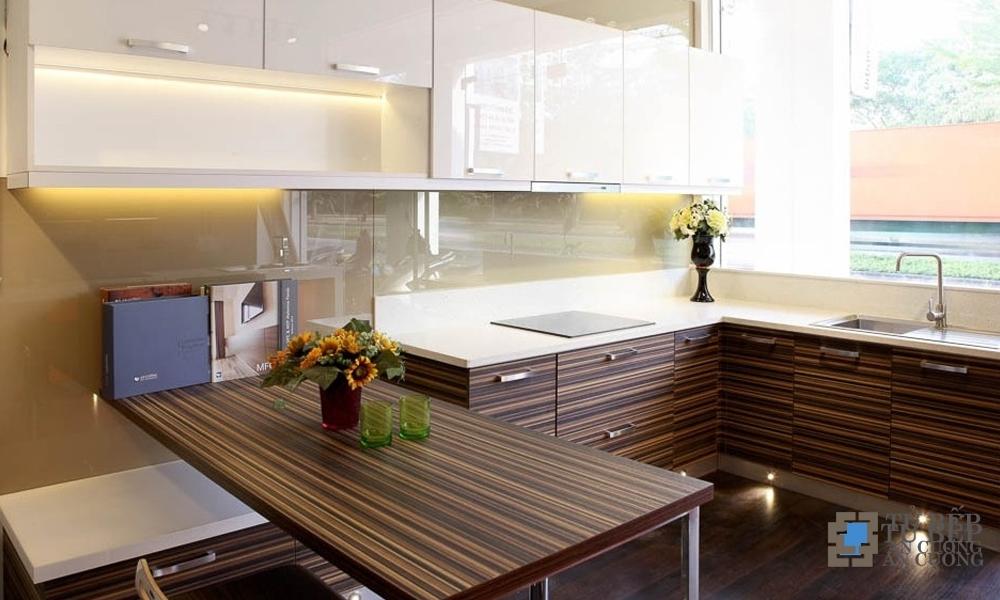 Tủ bếp gỗ An Cường chống ẩm chữ L Mẫu 004